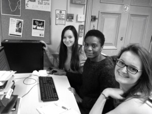 Emily, Ayo and Rachel working on a DFID application