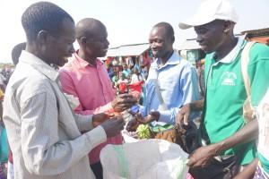 Potential customers examining produce at market